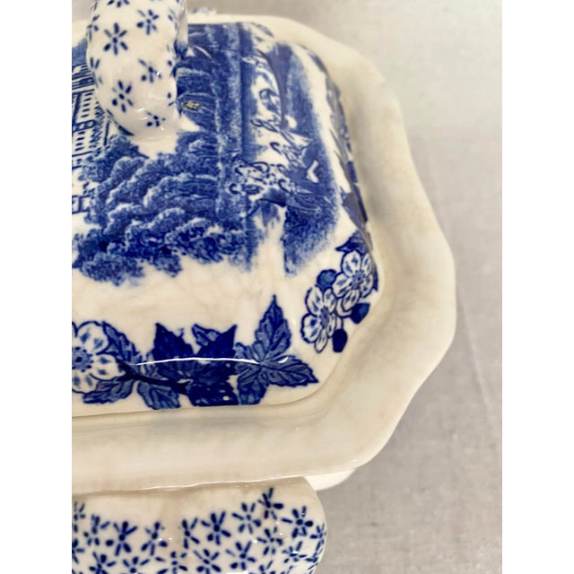 Blue Vintage Blue and White Gravy Boat For Sale - Image 8 of 13