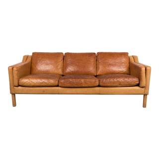 Børge Mogensen Style Original Brown Leather Three-Seat Sofa For Sale