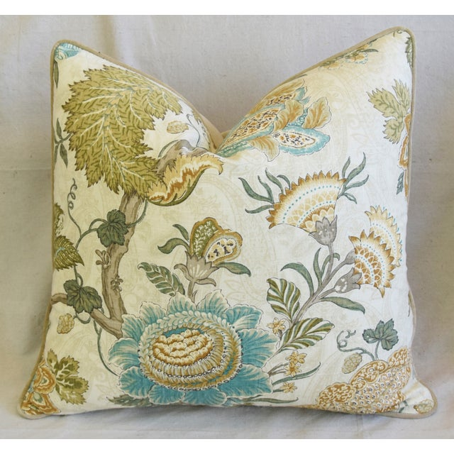 """French Jacobean Floral & Velvet Feather/Down Pillow 24"""" Square For Sale In Los Angeles - Image 6 of 6"""