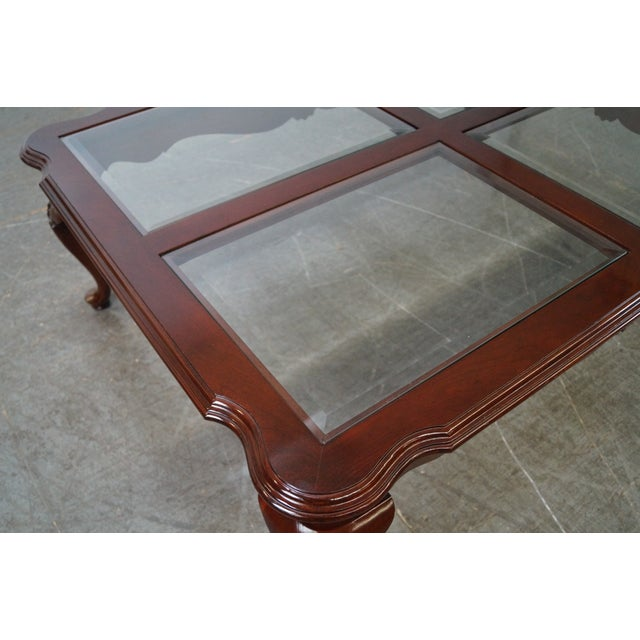 Ethan Allen Georgian Court Cherry Queen Anne Glass Top Coffee Table For Sale - Image 10 of 10