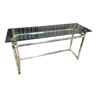 Charles Hollis Jones Lucite and Brass Console Table For Sale