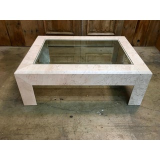 Mid-Century Modern Crema Italia Beige Marble Coffee Table Preview