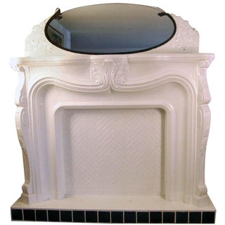 Vintage Art Nouveau Fireplace Mantle With Framed Beveled Edge Glass Mirror For Sale