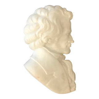 1960s Vintage Marble Portrait Relief of Beethoven