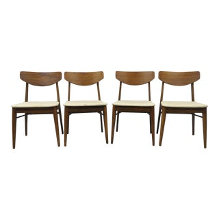 Mid-Century Modern Walnut & Oak Wood Curved Back Dining Chairs- Set of 4