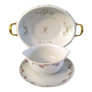 Limoges France Vegetable Bowl & Sauce Bowl - A Pair For Sale