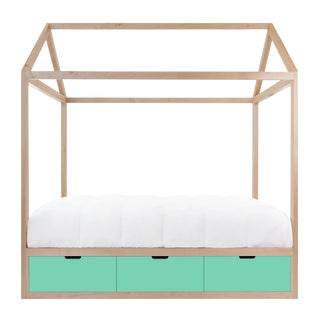 Domo Zen Twin Canopy Bed in Maple With Mint Finish Drawers For Sale