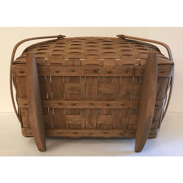 Brown Vintage Longaberger Cradle Basket For Sale - Image 8 of 9