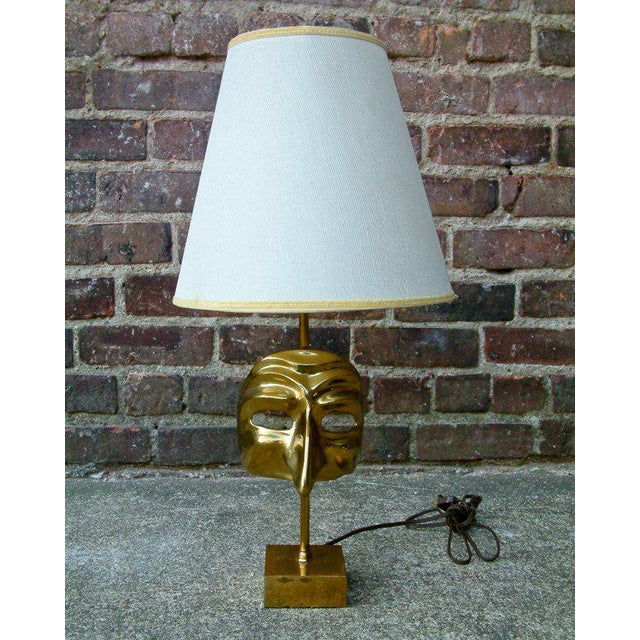 Gold Commedia Dell'Arte Brass Mask Table Lamp For Sale - Image 8 of 9