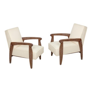 Custom Cerused Oak Lounge Chairs - A Pair For Sale
