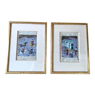 Antique Indo Persian Miniature Paintings in Gilt Frames - a Pair For Sale