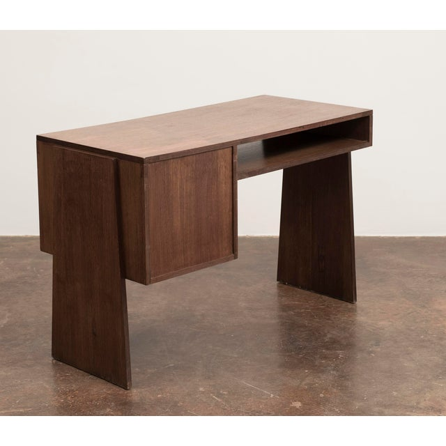 Mid-Century Modern Handsome French Modernist Desk in Walnut, 1950s For Sale - Image 3 of 12