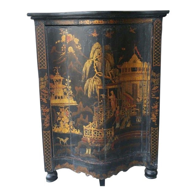 Early 19th C English Chinoiserie Corner Cabinet For Sale