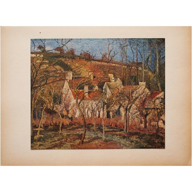 "Orange 1930s Camille Pissarro, Rare Original ""The Red Roofs in Pontoise"" Lithograph For Sale - Image 8 of 9"
