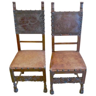 Spanish 18th Century Studded Leather and Hand Carved Walnut Dining Chairs- A Pair For Sale