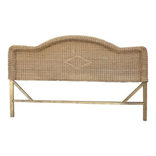 1970s Boho Chic Queen Wicker Bed Headboard For Sale