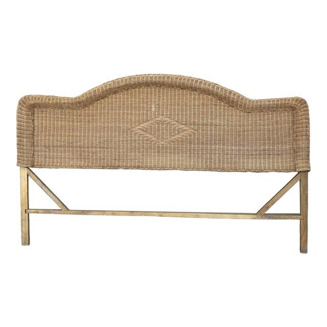 1970s Boho Chic Queen Wicker Bed Headboard For Sale