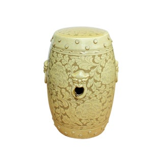Oriental Foo Dog Head Floral Pattern Yellow Beige Ceramic Round Stool