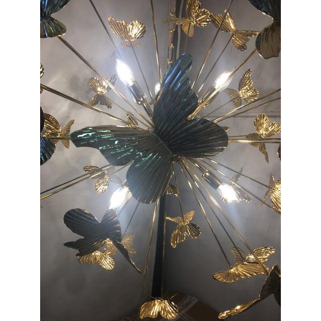 2010s Italian Hand Made Gold 24k Butterfly Sputnik Chandelier For Sale - Image 5 of 13
