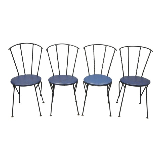 4 Vintage Mid Century Modern Brutalist Iron Rebar Dining Chairs Industrial Steampunk For Sale