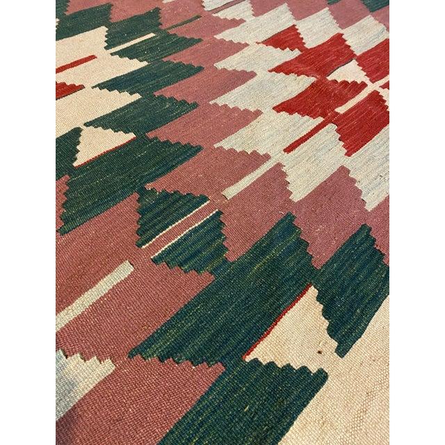 1900 - 1909 Vintage Handwoven Wool Flat Weave Fringed Turkish Rug For Sale - Image 5 of 6