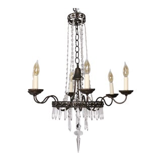 Vintage French Empire Neoclassical Iron Crystal Chandelier For Sale