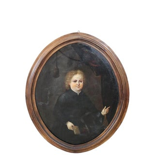18th Century French Oil Painting on Canvas Portrait of Child With Oval Frame For Sale