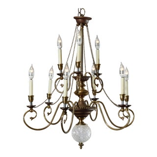 Vintage 20th Century French Nine-Light Tiered Brass and Crystal Chandelier For Sale