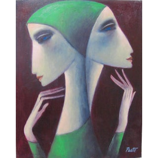 """Modern Cubist Portrait """"Two Sisters"""" Female Faces Sammy Pasto Signed For Sale"""