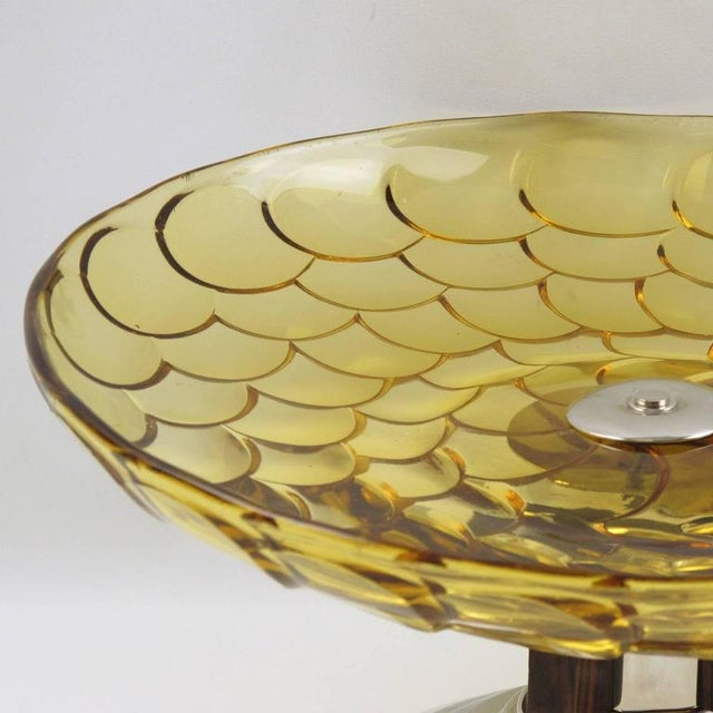 French Art Deco Yellow Glass Chrome Macassar Centerpiece Bowl For Sale In Atlanta - Image 6 of 8