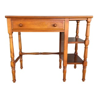 1950s Stickley Brothers Cherry Student Writing Desk With Side Bookcase