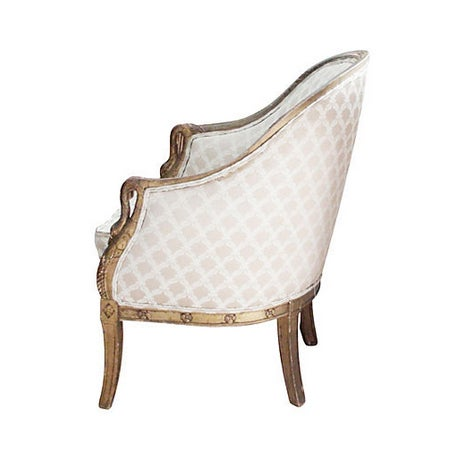 Carved Swan Bergère Armchair & Pillow | Chairish