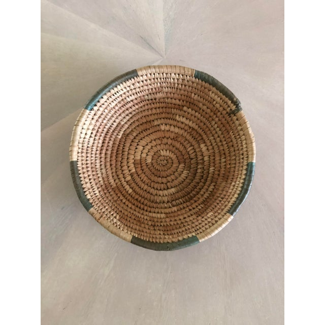 1950s Handwoven Green Grass Basket For Sale - Image 5 of 5