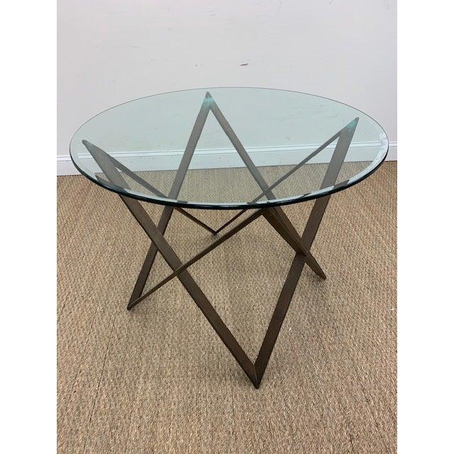 Mid-Century Modern Mid Century Bronze Interlocking X Table Base For Sale - Image 3 of 12