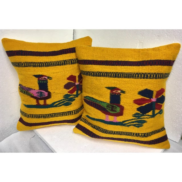 Boho Chic Hand Woven Wool Pillows - A Pair - Image 2 of 4