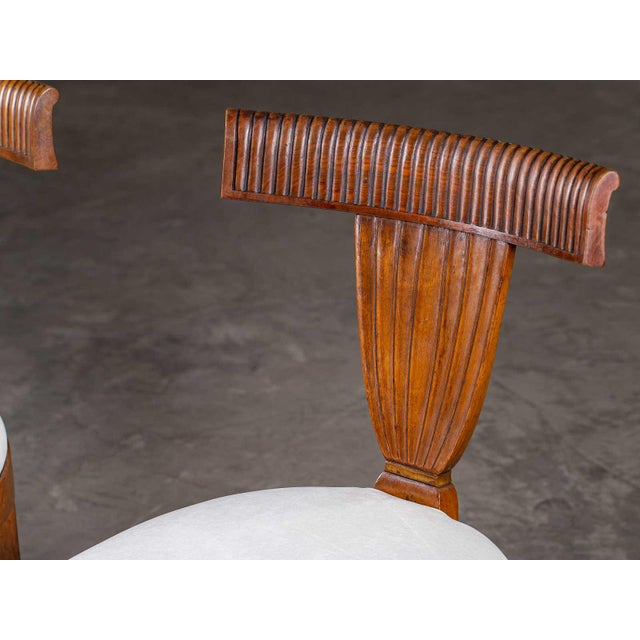Late 19th Century Antique 1890s Italian Empire Walnut Neoclassical Chairs - a Pair For Sale - Image 5 of 13