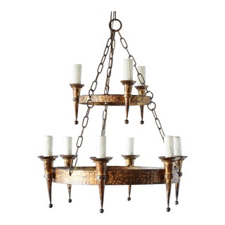 Mid 20th Century Gilt Two-Tier Iron Ring Chandelier For Sale