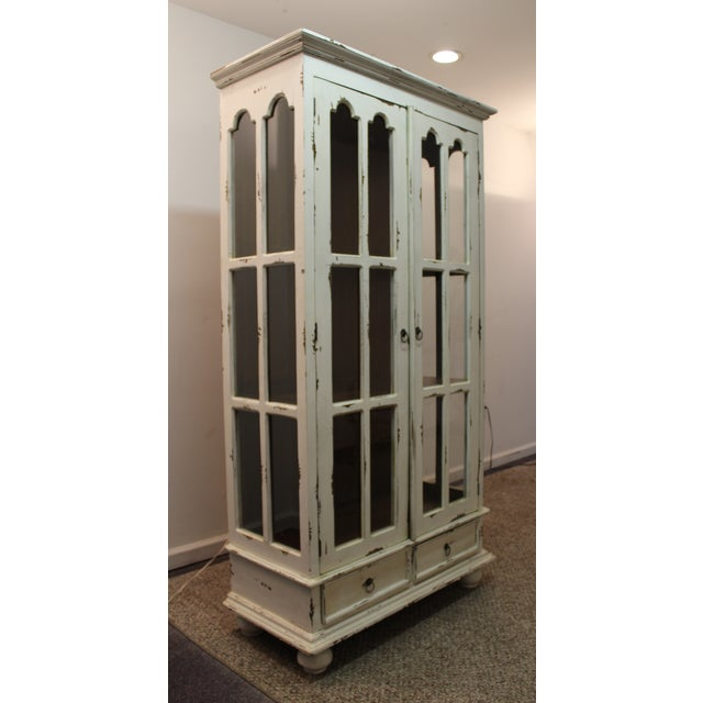 French Country White Distressed Pie Safe Cabinet - Image 4 of 11
