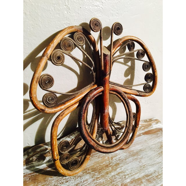 Vintage Bamboo Butterfly Towel Holders - A Pair - Image 8 of 8