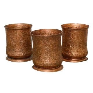 Repoussé Foliate Patterned Copper Planters - Set of 3 For Sale