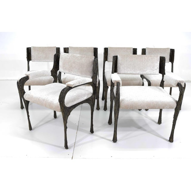 Metal Set of Six Paul Evans Brutalist Sculpted Bronze and Resin Dining Chairs, 1972 For Sale - Image 7 of 13