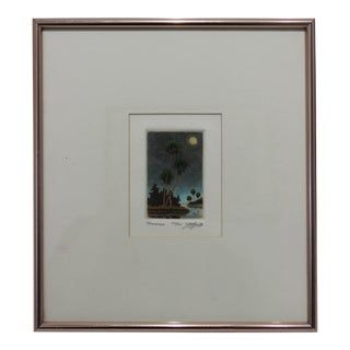 "Hand Colored 1970s Ltd Ed ""Moonrise"" Engraving Signed and Numbered by the Artist For Sale"