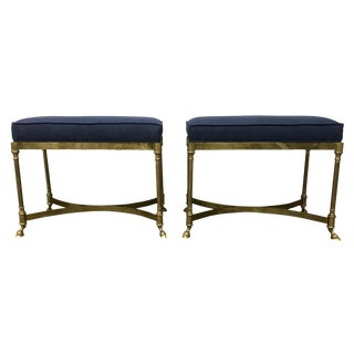 Vintage Navy Linen Brass Hoof Stools / Benches - a Pair For Sale