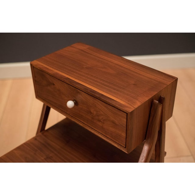 White Mid Century Walnut Floating Nightstands by Drexel Declaration For Sale - Image 8 of 13