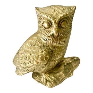 1980s Boho Chic Brass Owl Figurine