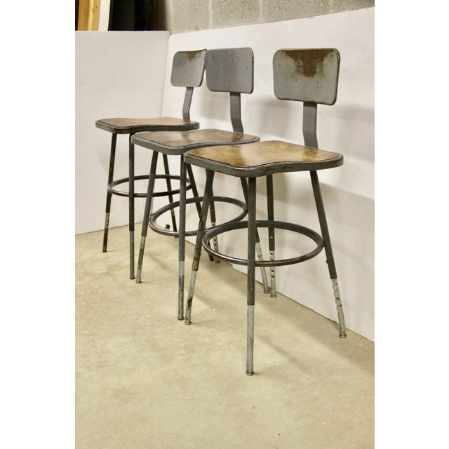 Americana Industrial Lab Stools, S/3 For Sale - Image 3 of 8