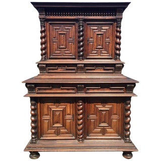 Early Carved Walnut Deux Corps 2-Piece Buffet For Sale