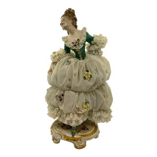 1950's Porcelain Figurine of Lady With Lace Dress by Heinz Schaubach For Sale