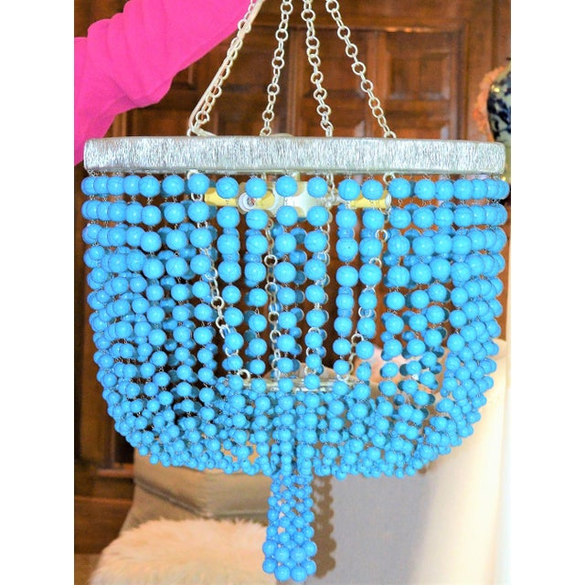 Arteriors Home Turquoise Beaded Four Light Chandelier - Image 9 of 11