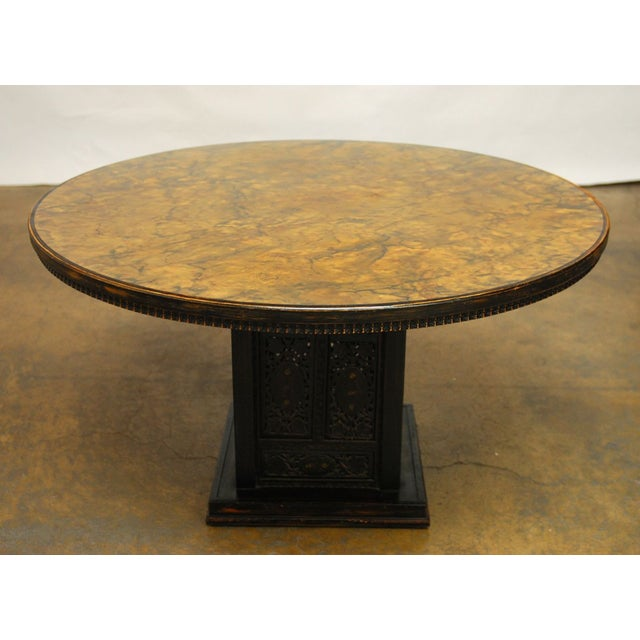 Traditional Mid-Century Modern Round Pedestal Table by Ritts For Sale - Image 3 of 7